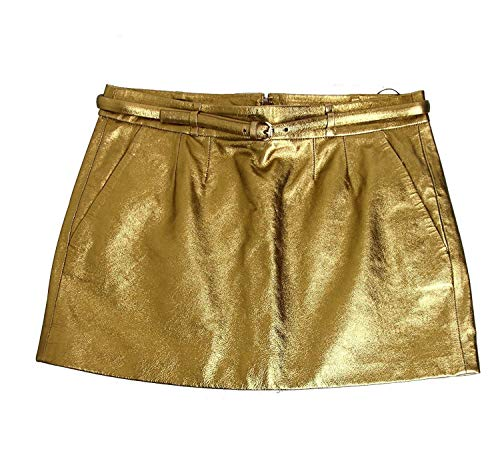 Gucci Women's Gold Leather Horsebit Belt Mini Skirt