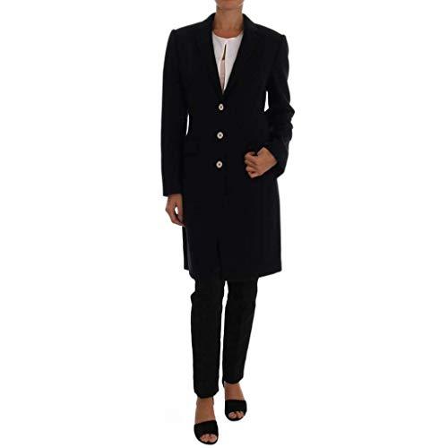 Dolce & Gabbana Dark Blue Wool Single Breasted Coat