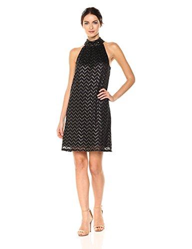 Trina Trina Turk Women's Morrison Dress, Black/Gold M