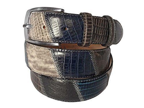 Fresco Golf Full Grain Italian Leather Lizard Embossed Patchwork Men's Belt