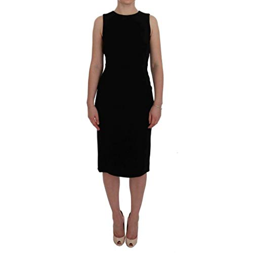 Dolce & Gabbana Black Chamomile Print Wool Stretch Dress