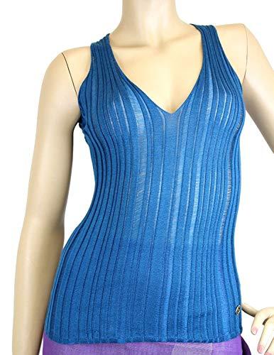 Gucci Women's Blue Cashmere Silk Tank Top Logo Sweater