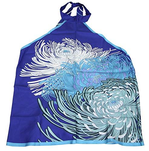 Gucci Flower Print Scarf Blue Silk Halter Top Blouse