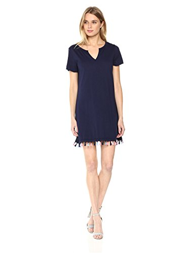 Michael Stars Women's neon poms Notch Neck tee Dress
