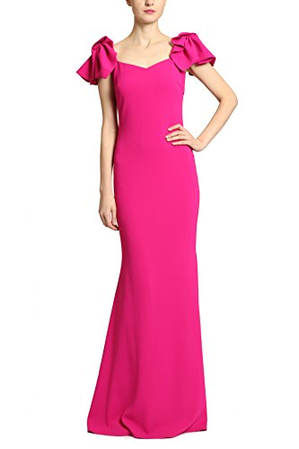 Badgley Mischka Magenta Purple Pink Twist Sleeve Floor Length Dress