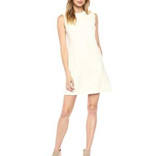 Theory Women's Sleeveless Vent Front Shift Dress, Ivory, 6