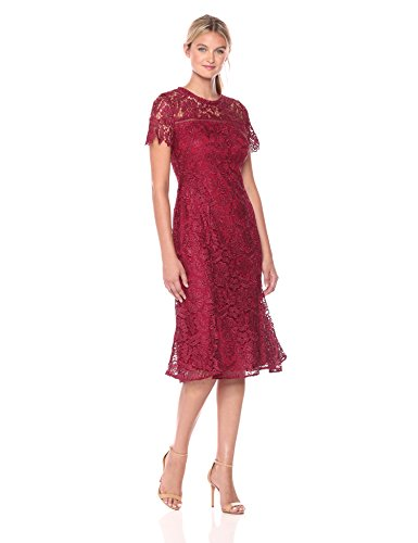 Shoshanna Women's Park Midi Dress, Cranberry 6