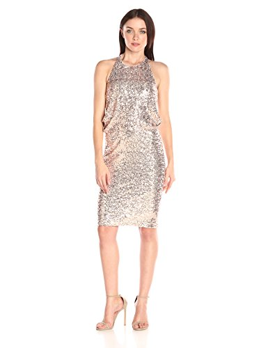 Badgley Mischka Women's Sequin Drape Back Cocktail Dress