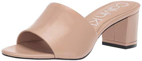 Calvin Klein Women's NEOLLY Heeled Sandal, Desert Sand Leather, 9 M US