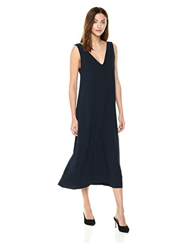 Theory Women's DEEP V Neck Maxi Dress, Navy, M