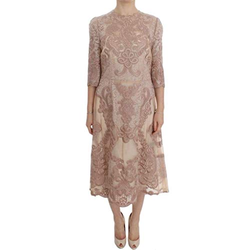 Dolce & Gabbana - Pink Silk Lace Ricamo Shift Gown Dress