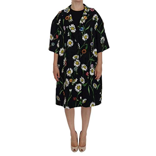 Dolce & Gabbana Black Brocade Crystal Daisy Trench Coat