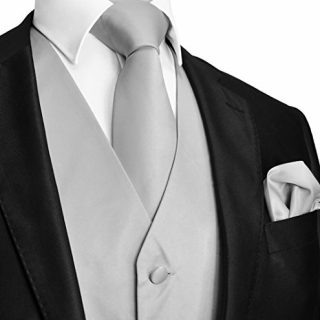 Brand Q Men's Dress Vest NeckTie Pocket Square Set