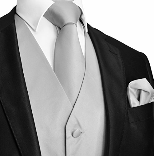 Brand Q Men's Dress Vest NeckTie Pocket Square Set