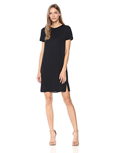 Theory Women's Short Sleeve Silk TEE Dress, deep Navy, S