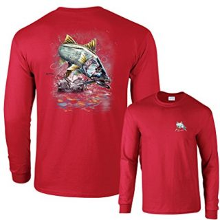 Fair Game Jumping Snook Long Sleeve T-Shirt-Red-Large