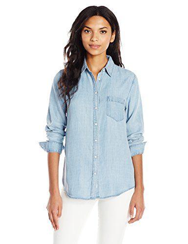 DL1961 Women's Blue Shirt Shop Mercer and Spring Regular Top, Bleach, XS