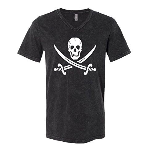 Jolly Roger Mens V-Neck T-Shirt Pirate Flag