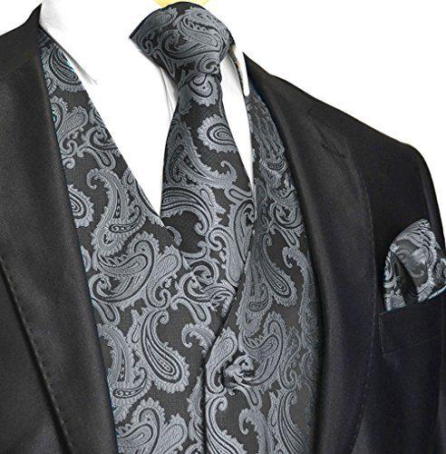Men's 3pc Paisley Vest (L (Chest 44), Charcoal)