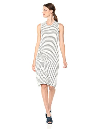 Monrow Women's Supersoft Pinstripe Dress W/Elastic Detail