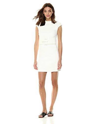 Theory Women's Cap Sleeve MOD Belt Dress, Ivory, 4