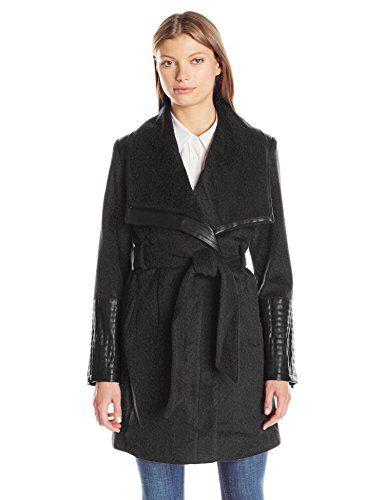 Belle Badgley Mischka Women's Lorian Belted Wool Coat