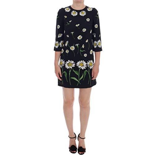 Dolce & Gabbana Black Silk Stretch Floral Sheath Dress