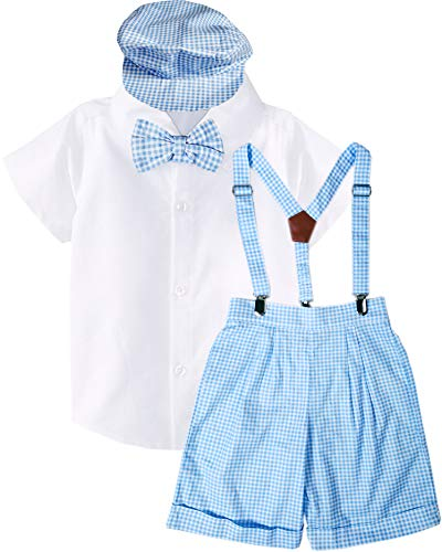 Baby Infant Boys Blue Checkers Suspender Bowtie Hat Short Set