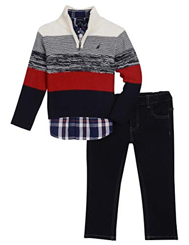 Nautica Toddler Boys' Three Piece Sweater Set, Natural Cream, 3T