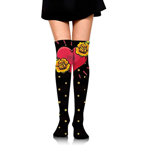Kyliel Over the Knee Thigh High Socks,Heart And Flowers Print