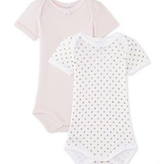 Petit Bateau Set of 2 Baby Girls Short Sleeve Bodysuits Style