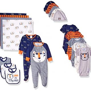 Gerber Baby Boys' 19-Piece Essentials Gift Set, Happy Tiger Newborn