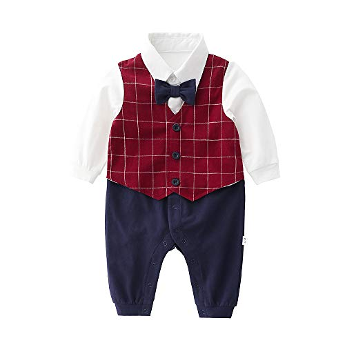 Newborn Baby Boys Gentleman Romper with Tuxedo Tie and Vest