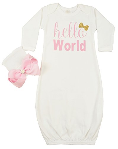 Posh Peanut Hello World Infant Baby Gown Layette Soft Sleeper