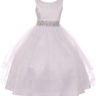 Big Girl Sleeveless Rhinestone Formal First Communion Flower Girl Dress