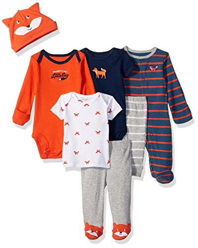 Carter's Baby Boys' 7-Piece Bodysuit Set, Orange Fox 6 Months