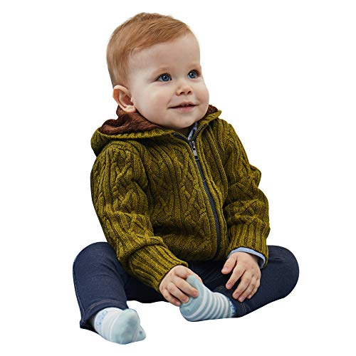 Petit Clan Baby Boy Hooded Cardigan Cable Knit Sweater
