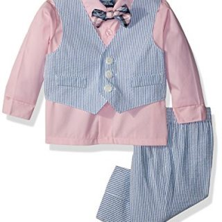 Izod Baby boys 4-Piece Vest Set with Dress Shirt, Bow Tie