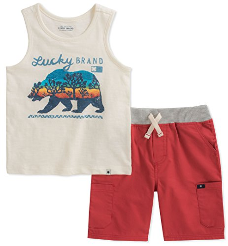 Lucky Brand Baby Boys Tank Top Shorts Set, Oatmeal/red, 12M