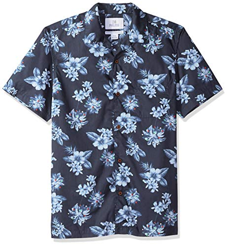 Palms Men's Standard-Fit 100% Cotton Tropical Hawaiian Shirt