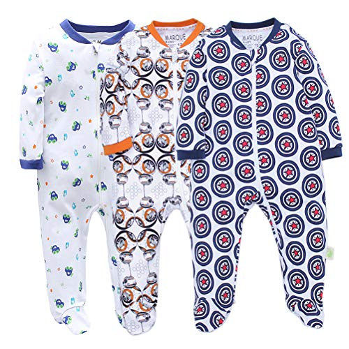 3 Pack Baby Boys' Footed Pajama - 100% Cotton Zip Front