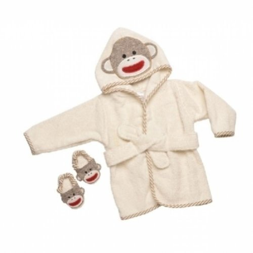 Sock Monkey Hooded Bath Robe Towel & Slipper Gift Set