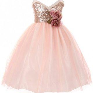 Big Girls' Dress Sequins Ruffle Trim Layered Tulle
