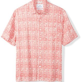 Palms Men's Relaxed-Fit 100% Linen Reverse Print Shirt