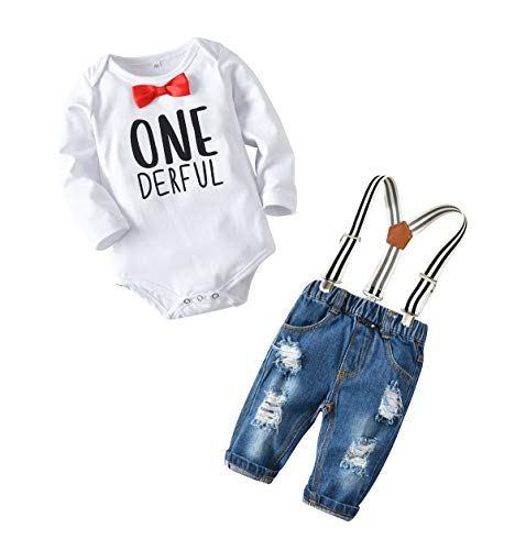 Toddler Baby Boy Clothes Set Bowtie Romper Suspenders Ripped Denim Pants