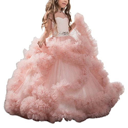 Stunning V-Back Luxury Pageant Tulle Ball Gowns for Girls