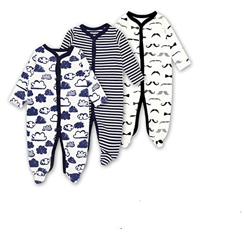 Mothernest Baby Boys' Footed Pajamas Sleeper 3 Pack Long Sleeve