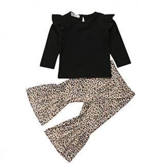 Baby Girls Lace Off Shoulder Ruffle T Shirt Top+ Leopard Print