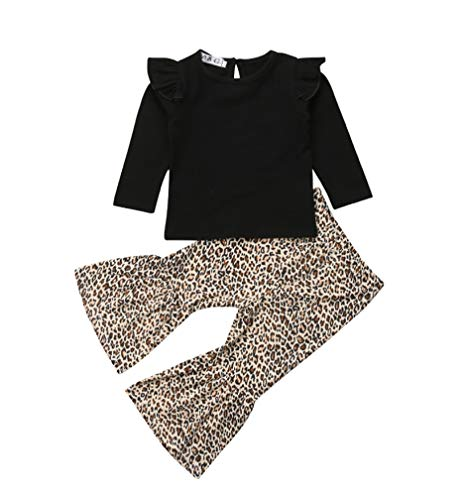 Baby Girls Lace Off Shoulder Ruffle T Shirt Top+ Leopard Print