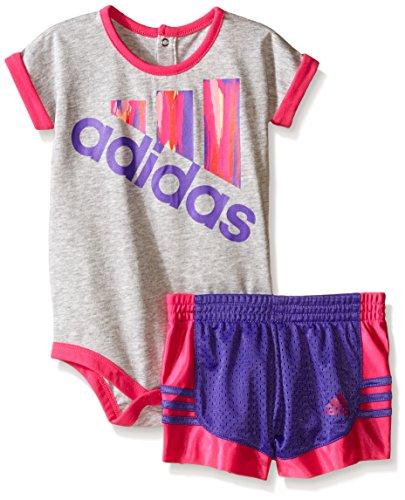 Adidas Baby Girls' Bodysuit and Short Set, Grey Heather, 24 Months